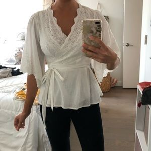 Anthropologie White Eyelet Wrap Blouse